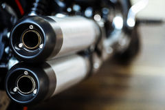 Motorcycle exhaust. Close up shot of a motorcycle exhaust pipes Royalty Free Stock Photo