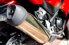 Motorcycle exhaust pipe. Close up shot of a motorcycle exhaust pipes Stock Images