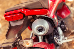 Motorcycle exhaust pipe. Detail of motorcycle exhaust pipe, close up image Royalty Free Stock Image