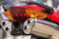 Motorcycle exhaust pipes Royalty Free Stock Images