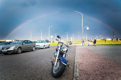 Motorcycle expects his driver. On the road royalty free stock image