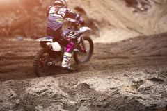 Motorcycle expedition in nature. Motocross, motorcycle achievements Royalty Free Stock Photography