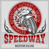 Motorcycle - extreme sport. Vector Emblem Royalty Free Stock Images