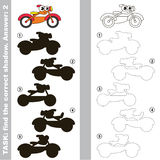 Motorcycle. Find true correct shadow. Toy Motorcycle with different shadows to find the correct one. Compare and connect object with it true shadow. Easy Royalty Free Stock Photo