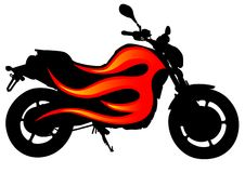 Motorcycle on fire Stock Photos