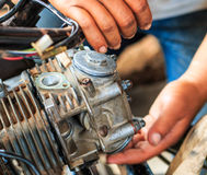 Motorcycle fixing Royalty Free Stock Images