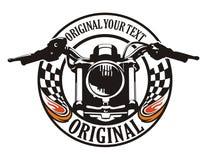 Motorcycle flag circle emblem Royalty Free Stock Photos