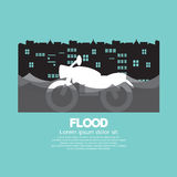 Motorcycle In A Flood. Vector Illustration Stock Images
