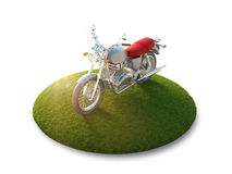 Motorcycle on a flying island Stock Image