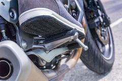 Motorcycle foot rest royalty free stock images