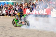 Motorcycle freestyle show. Saint-Petersburg, Russia - April, 25. MOTUL M1–STUNT BATTLE RUSSIA 2014 Royalty Free Stock Photo