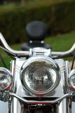 Motorcycle front light. Front light closeup of a motorcycle stock photo
