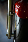 Motorcycle front suspension. Close up shot of the front suspension of a motorcycle Stock Photography
