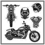 Motorcycle front view and side view engine, helmets quality  set. Vintage motorcycling quality label set Stock Photo