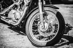 Motorcycle Front wheel close up. Black and white Stock Photo