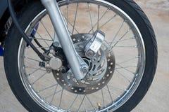 Motorcycle front wheel, tire, brake Stock Photo