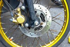 Motorcycle front wheel, tire, brake Stock Image