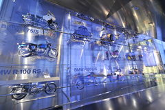 Motorcycle gallery in BMW Museum Royalty Free Stock Photo