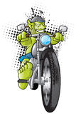 Motorcycle Gang Troll. Rebellious biker riding his motorcycle being chased by the police Royalty Free Stock Photography