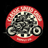 Motorcycle garage badge with the dirty texture Stock Images
