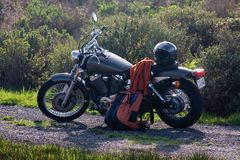 Motorcycle and Gear. Motorcycle on a dirt road stock photos