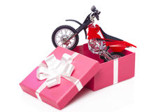 Motorcycle in gift box Royalty Free Stock Image