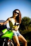 Motorcycle girl Stock Image