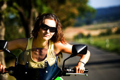 Motorcycle girl Royalty Free Stock Photo