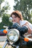 Motorcycle girl Royalty Free Stock Photography