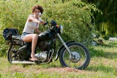 Motorcycle girl Royalty Free Stock Image