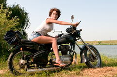 Motorcycle girl Stock Photos