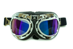 Motorcycle glasses  on white  background Royalty Free Stock Images