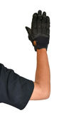 Motorcycle glove and hand signal slow down or stop Royalty Free Stock Images