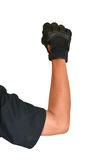 Motorcycle glove and hand signal slow down or stop Stock Photo