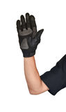 Motorcycle glove and hand signal slow down or stop Stock Photos