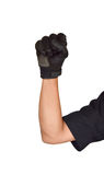 Motorcycle glove and hand signal slow down or stop Stock Photography