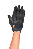 Motorcycle glove and hand signal slow down or stop Royalty Free Stock Image