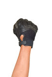 Motorcycle glove and hand signal slow down or stop Royalty Free Stock Photography