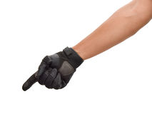 Motorcycle glove and hand signal to beware Royalty Free Stock Images