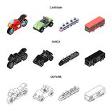 Motorcycle, golf cart, train, bus. Transport set collection icons in cartoon,black,outline style vector symbol stock