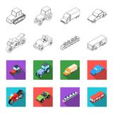 Motorcycle, golf cart, train, bus. Transport set collection icons in outline,flet style vector symbol stock illustration Stock Image