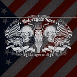 Motorcycle Graphics Illustration on USA Flag Background Stock Photos
