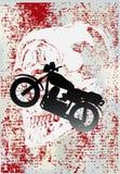 Motorcycle Grunge. Background grunge illustration of a retro motorbike over a skull vector illustration