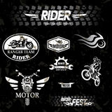 Motorcycle grunge labels. Set of emblems Stock Photography