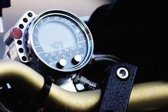 Motorcycle handlebar and tachometer Stock Photos
