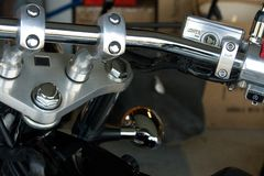Motorcycle Handlebars. Close up of motorcycle handlebars Royalty Free Stock Photos