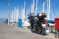 Motorcycle in harbor Stock Image