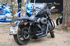 Motorcycle Harley Davidson Sportster 1200 black. Back view along right side royalty free stock photos