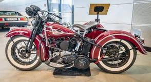 Motorcycle Harley-Davidson WLA 45 Gespann, 1944 with sidecar Simard Rocketman, 1934. Royalty Free Stock Images