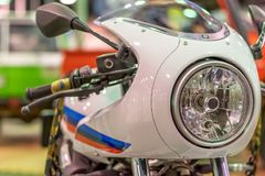 Motorcycle headlight and the front of the motorcycle Stock Photos
